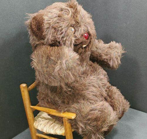 """Vintage Bear BABY WURBLE CUDDLE WIT 💖 13"""" Dark Brown Electronic Chirping 1980s"""