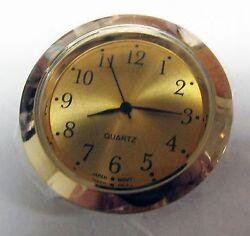 BRAND NEW ROUND MINI QUARTZ CLOCK MOVEMENT (POP-IN) 1 7/16 GOLD TONE