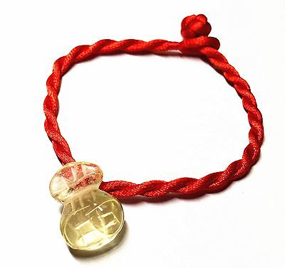 Feng Shui red string bracelet with Citrine yellow crystal Money Bag for wealth