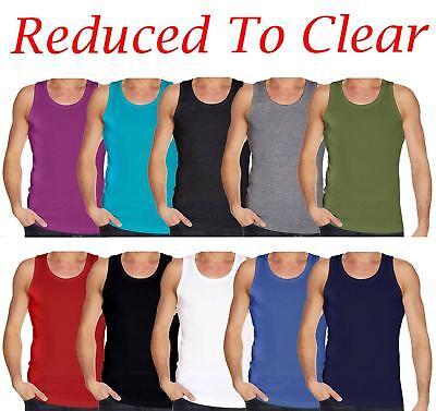 Mens Plain Vest Multi Pack Lot Sports Fitness Gym Cotton Summer T Shirt Tank Top