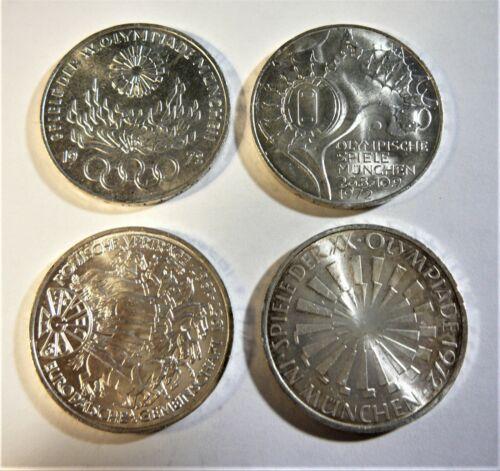 Germany 1972 F, 1972 G, 1972 J,  & 1987 G 10 Mark Silver Coins SB1