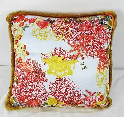 Mint Medium VERSACE 100% Silk Decorative Pillow Coral