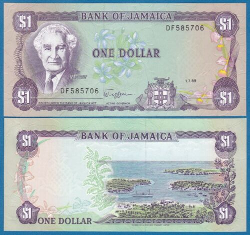 Jamaica 1 Dollar P 68Ac 1989 UNC  Low Shipping! Combine FREE! (P-68A c) Sign 9