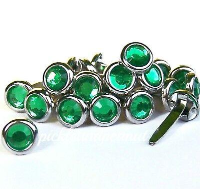 6mm Green Rhinestone Brads Diamante Jewel Gem Gemstone Style Crystal Craft ()