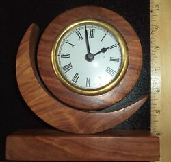 Beautiful Wood Table Or Desk Clock Hand Crafted In India