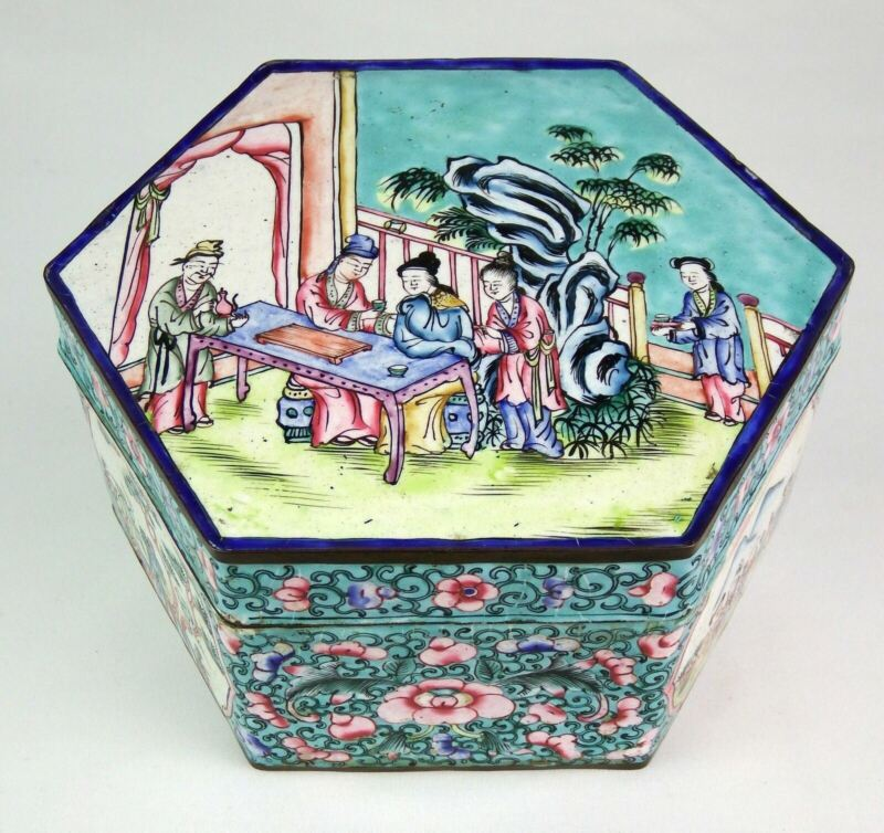 Antique Chinese Qing Hand Painted Very Fine Canton Enamel Box