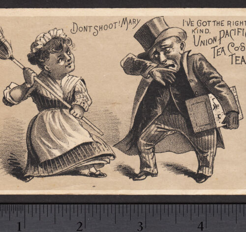 Union Pacific Tea Co 1800s Wife Beating Broom Domestic Violence Advertising Card