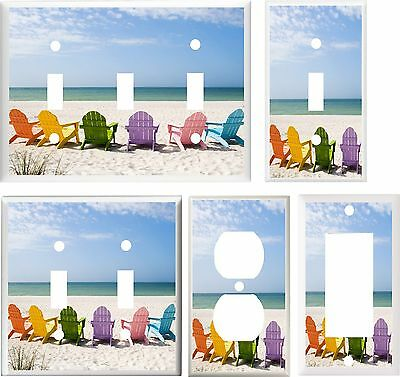 ADIRONDACK  CHAIRS ON THE BEACH   IMAGE  LIGHT SWITCH COVER