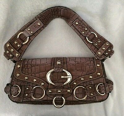 GUESS STUDDED HANDBAG FAUX CROCODILE - ALLIGATOR LADIES -