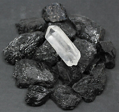 1 4 Lb Black Tourmaline Raw Rough Stones   Large Clear Quartz Crystal Point 4 Oz