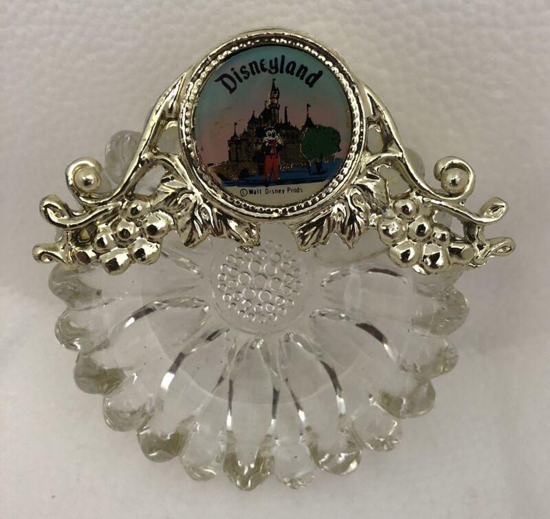 Vintage Rare Disneyland Parks Crystal and Gold Metal Trinket Dish Ashtray Used