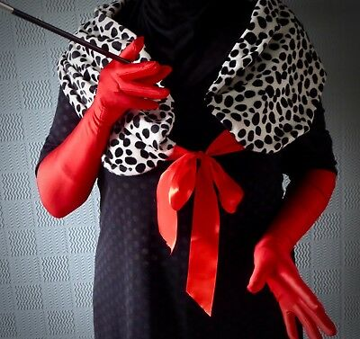 Cruella de Ville fancy dress outfit red satin gloves cigarette holder fur stole  (Cruella Deville Outfit)