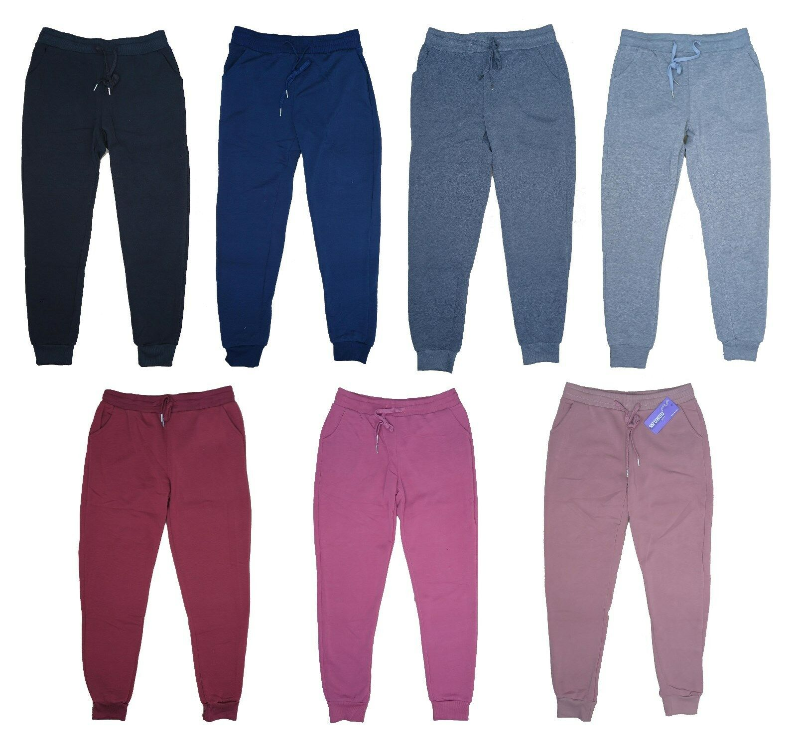 Women's Fleece Lounge Pants Cotton Sweatpants w/ Pockets Cuf