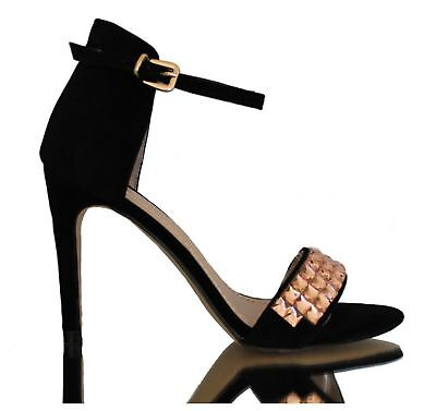 Sandalen High Heel Stiletto Pumps Slingbacks Knöchel Riemchen Schwarz 37 High Heel Stiletto Sandale