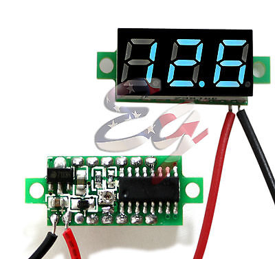 Blue Dc 0-30v 2 Wire Led Display Digital Voltage Voltmeter Panel Car Motorcycle