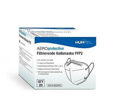 20x FFP2 Atemschutzmaske Mundschutz mit Ohrenschoner und Nasenbügel ohne Ventil