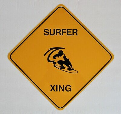 Vintage Tin Sign Surfer Xing Surfboard Surfing Surf Crossing Surfboards - Surfer Tin