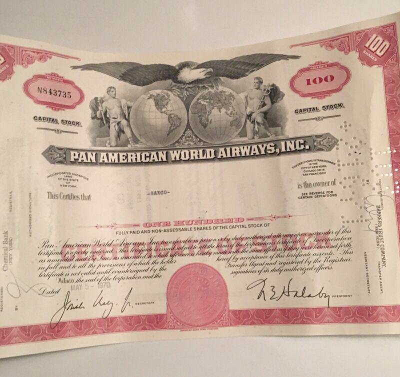 Pan American (PanAm) World Airways Stock Certificate History Capital Stock
