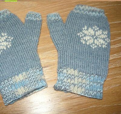 Fingerlose Fäustlinge - blaue Strick-Handschuhe - 6-7 Jahre