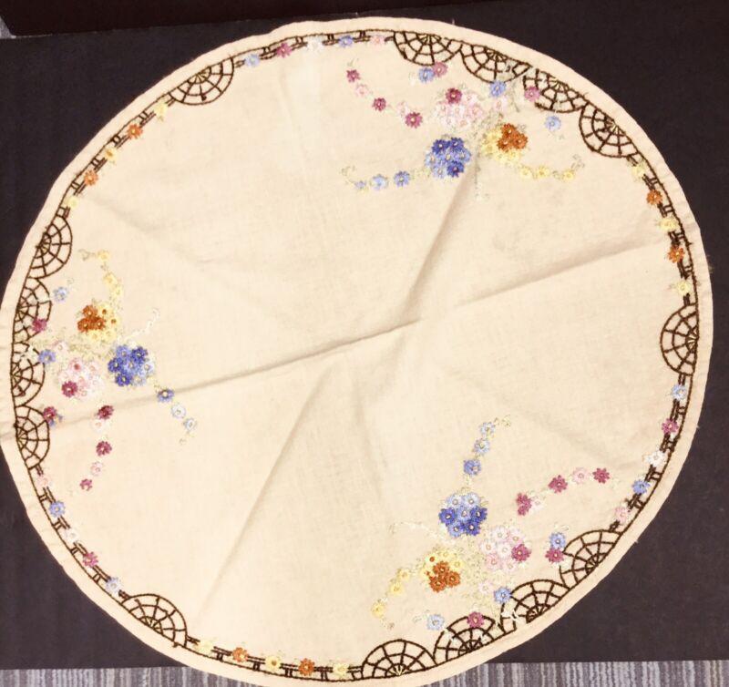 "Vintage Arts Crafts 32"" Round Hand Embroidered Flower Purple Pink Yellow Tan"