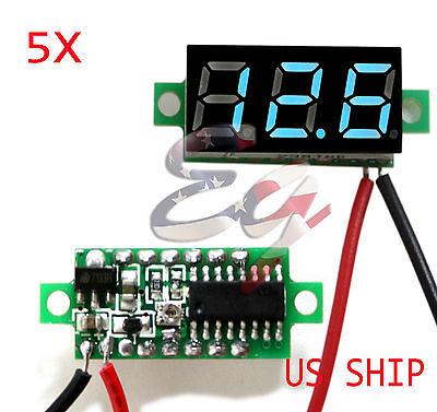 5x Blue Dc 0-30v Led Display Digital Voltage Voltmeter Panel Car Motorcycle