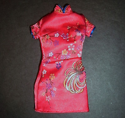 Barbie, Sindy, My Scene doll clothes: Red Chinese, Japanese short satin dress