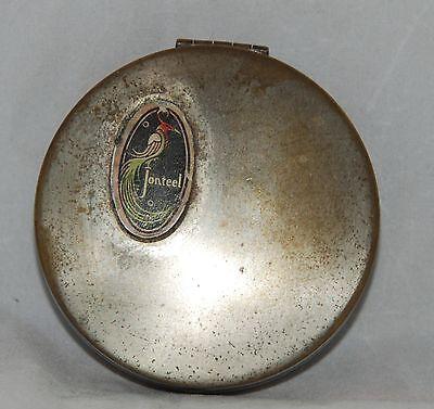 Vintage 1920s Jonteel Bird of Paradise Compact Face Powder Mirror Compact Case