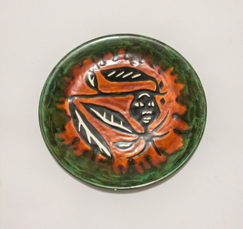 Vintage Jean Lurcat St Vicens Colorul Figural Ceramic Plate Signed