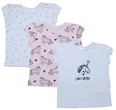 Baby Girl Unicorn T-Shirt Tops Short Sleeved 3 PACK Newborn - 18 Months