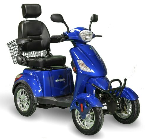 Blue 4 Wheel Powerful Scooter, Ewheels Ew-46, 400 Lb Cap, Led Console & Lights