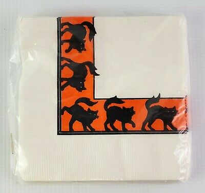 Vintage Hallmark Halloween 10 Beverage Napkins Black Cats w/ Orange