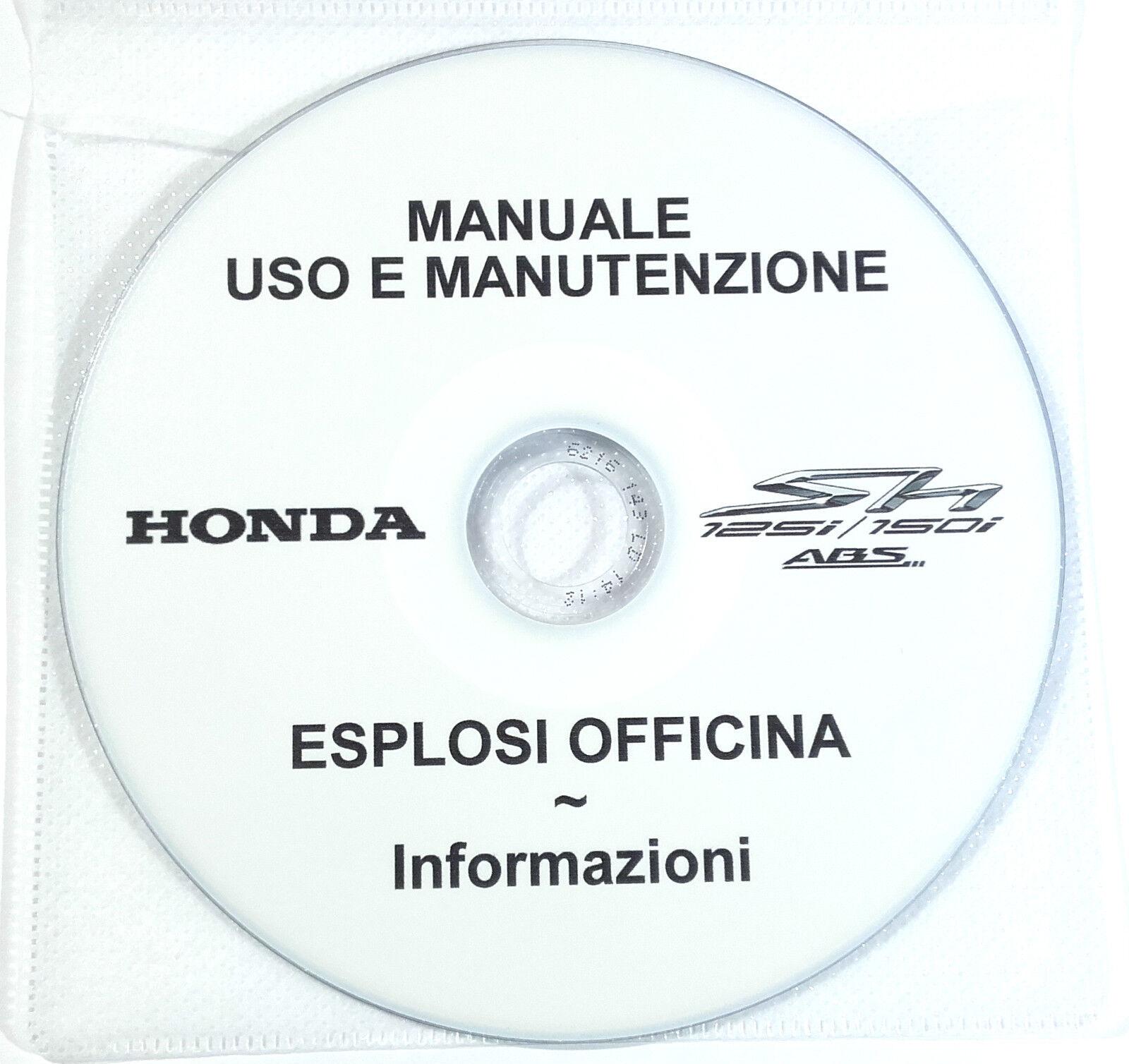 1 di 2 Cd Manuale Uso Manutenzione+Esplosi Officina Honda Sh 125-150 Abs  2012-2013