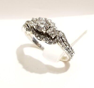 1.25 Ct Past Present - (RI1)Silver Past Present Future Diamond Ring 1.25ct 3.7 Grams Size 8.75