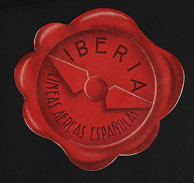 Opc Vintage Iberia Airlines 4 1 4  Luggage Label Mnh