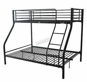 cadre de lit superpos trip t enfants m tal wagon lit en noir sans matelas. Black Bedroom Furniture Sets. Home Design Ideas
