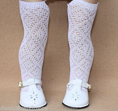 White T-strap Doll Shoes - Doll Shoes fitting 18 in American Girl Dolls White T-Strap Shoes & Lattice Socks
