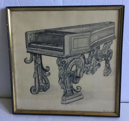 Old Hans Benninger Augsberg Provenance Signed Etching Print Harpsichord -Estate