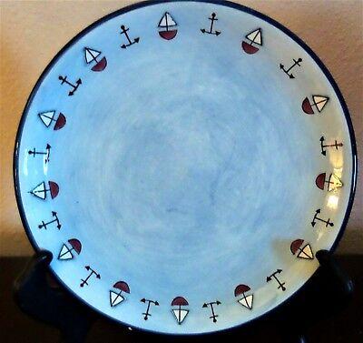 KIC Brushes Handpainted Nautical Theme Salad Plates Blue Anchors Sailboats x1 - Nautical Themed Plates