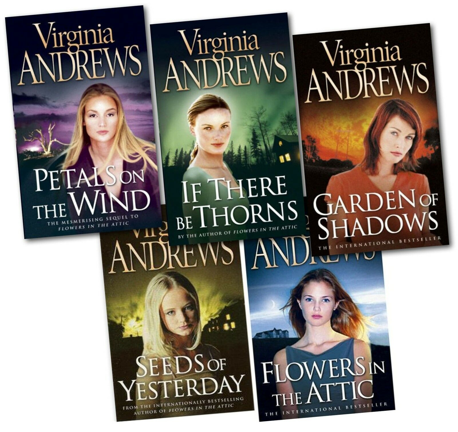 flowers in the attic virginia andrews 5 books set petal on the wind dollanger ebay. Black Bedroom Furniture Sets. Home Design Ideas