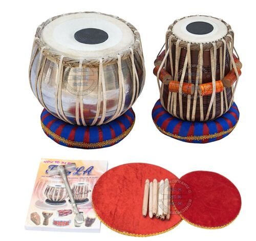 TABLA DRUMS SET PROFESSIONAL SILVER BAYAN WOOD DAYAN X-MAS BEST GIFTS