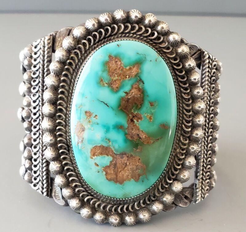 RARE Large Vintage NAVAJO Royston Turquoise Silver Cuff Bracelet