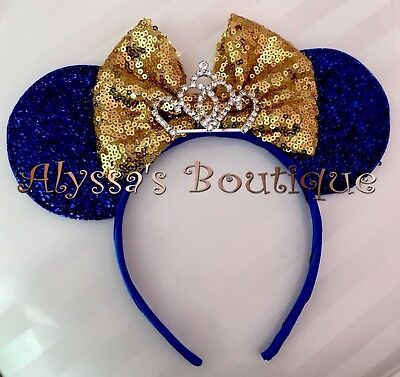 NEW! Minnie Mouse Sparkly Blue Tiara Ears Headband Big Gold Sequin Bow BIRTHDAY Gold Sequin Tiara