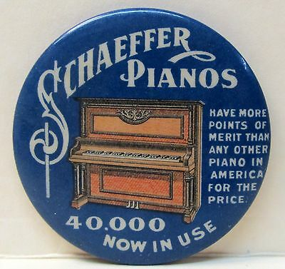 c. 1910 SCHAEFFER PIANOS 40000 Now In Use  celluloid advertising pocket mirror *