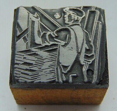 Vintage Printing Letterpress Printers Block Man Holding Wood Carpenter