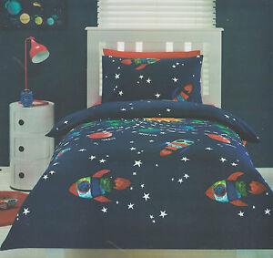 SPACE ROCKET FLIGHT GLOW IN THE DARK DOUBLE / FULL bed QUILT DOONA COVER SET NEW