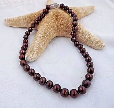 """NEW 18"""" HONORA CHOCOLATE 10-12MM RINGED PEARL NECKLACE STERLING CLASP"""
