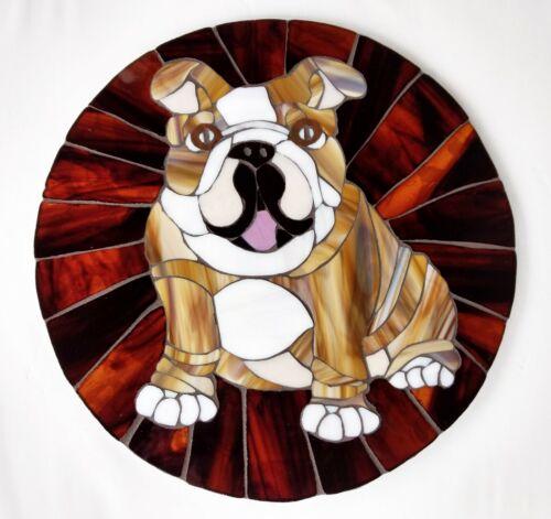 "14"" Round Stained Glass Mosaic Tile English BULLDOG Handmade Wall Art Dog Bull"