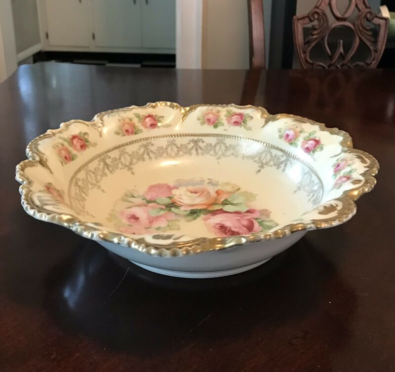 Antique German Hand Painted Bowl Roses Gold Gilt K Mark