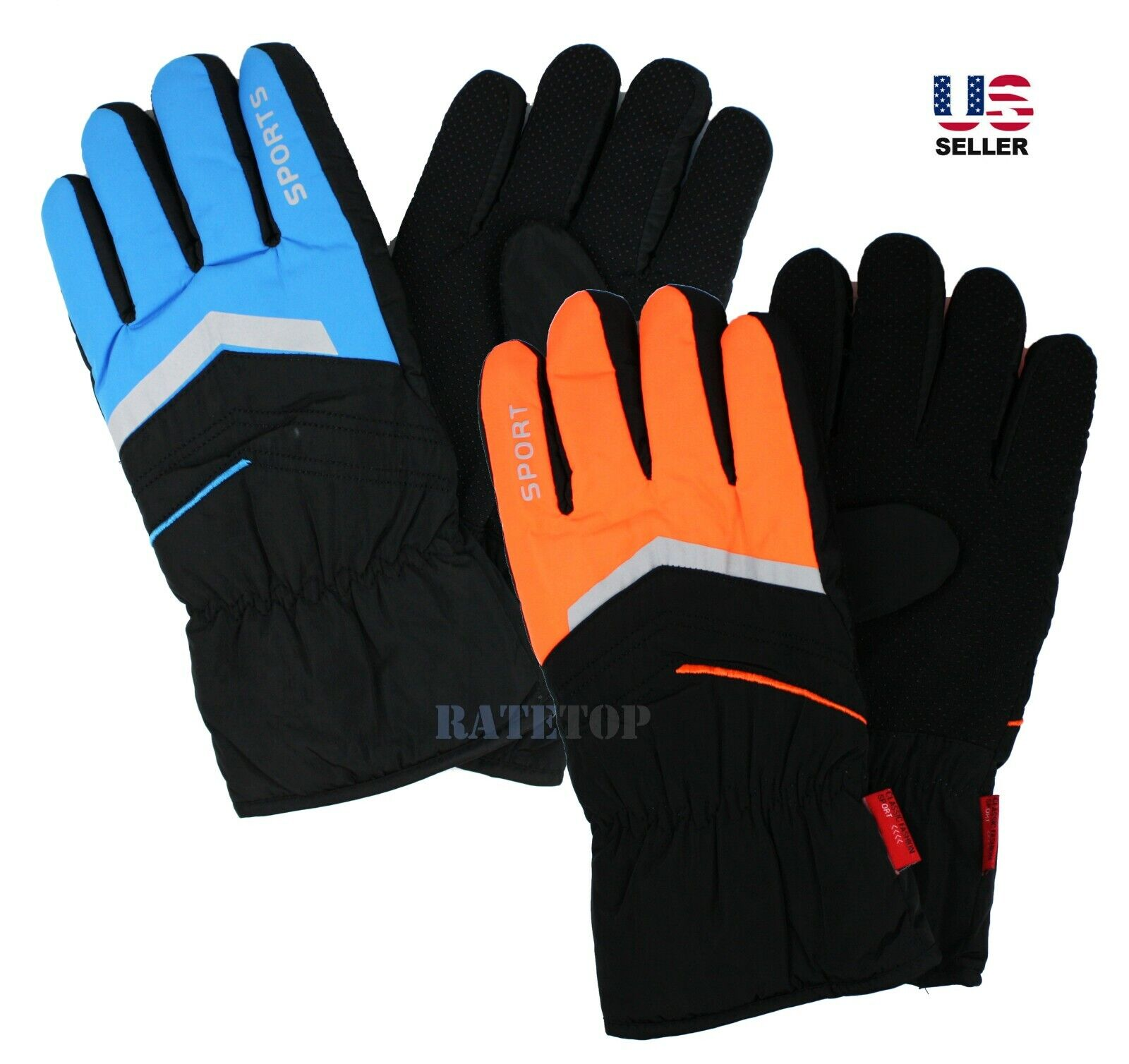 Mens Winter Thermal Fleece Lined Waterproof Reflective Snow Ski Gloves Mittens Clothing, Shoes & Accessories