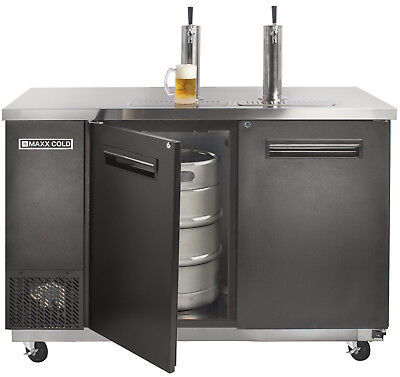 Maxx Cold Commercial 59.1 Wide Direct Draw Beer 2 Keg Cooler Kegerator 2 Taps